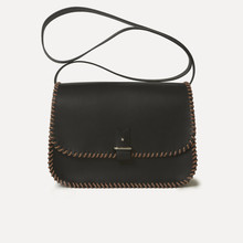 Rohan M in black calfskin, saumon&black - laced rope, 125cm thin or large strap