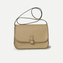 Rohan M in natural calfskin, beige and - brown laced rope, 125cm thin or large strap