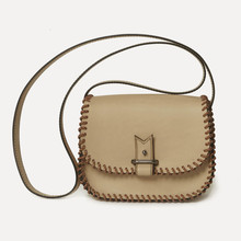 Rohan mini in natural calfskin, saumon & - black laced rope, large strap