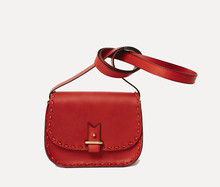 Rohan mini, red calfskin - sellier rouge & noir, bandoulière 90 cm