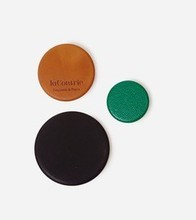Trio de badges Bon Enfants - gold & black calfskin, green kidskin