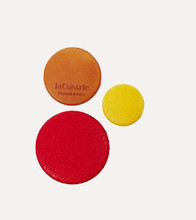 Trio de badges Bon Enfants - gold calfskin, red & yellow kidskin